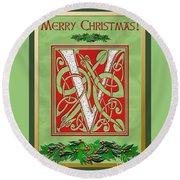 Celtic Christmas V Initial Round Beach Towel