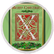 Celtic Christmas X Initial Round Beach Towel