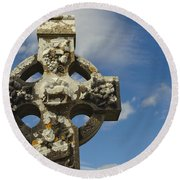 Celtic Cross, Cong Abbey, Ireland Round Beach Towel