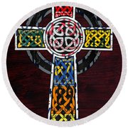 Celtic Cross License Plate Art Recycled Mosaic On Wood Board Round Beach Towel