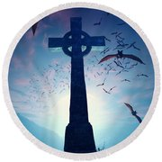 Celtic Cross With Swarm Of Bats Round Beach Towel
