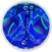 Celtic Fish On Blue And Lavender Round Beach Towel