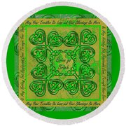 Celtic Irish Clover Home Blessing Round Beach Towel