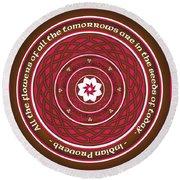 Celtic Lotus Mandala In Pink And Brown Round Beach Towel