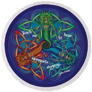 Celtic Mermaid Mandala Round Beach Towel