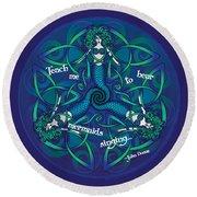 Celtic Mermaid Mandala In Blue And Green Round Beach Towel