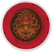Celtic Pagan Fertility Goddess In Red Round Beach Towel