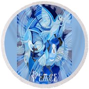 Celtic Peace Dove Greeting Card Round Beach Towel