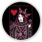 Celtic Queen Of Hearts Part I Round Beach Towel