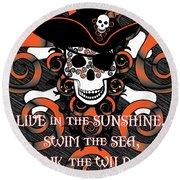 Celtic Spiral Pirate In Orange And Black Round Beach Towel