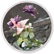 Cemetary Flowers 2 Round Beach Towel