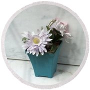 Cemetary Flowers 3 Round Beach Towel