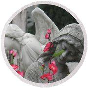Cemetery Stone Angels And Flowers Round Beach Towel