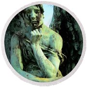 Cemetery Angel 2 Round Beach Towel