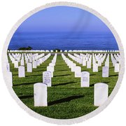 Cemetery At Waterfront, Fort Rosecrans Round Beach Towel