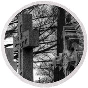 Cemetery Crosses Round Beach Towel