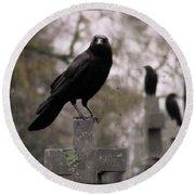 Cemetery Crows Round Beach Towel