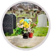 Cemetery Flowers Round Beach Towel
