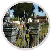 Cemetery Gate With Peeling Paint Round Beach Towel