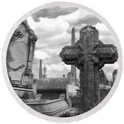 Cemetery Graves Round Beach Towel