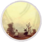 Cemetery In The Fog Round Beach Towel