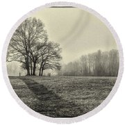 Cemetery Trees In The Fog E185 Round Beach Towel