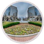 Center Fountain Piece In Piedmont Plaza Charlotte Nc Round Beach Towel