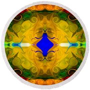 Centered In Peace Abstract Pattern Artwork By Omaste Witkowski Round Beach Towel