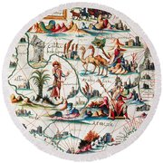 Central Asia Pierre Descelierss Map Round Beach Towel by Photo Researchers
