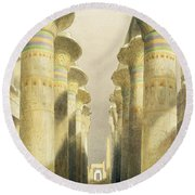 Central Avenue Of The Great Hall Of Columns Round Beach Towel