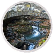 Central Cascade Round Beach Towel by Frozen in Time Fine Art Photography