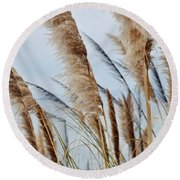 Central Coast Pampas Grass II Round Beach Towel