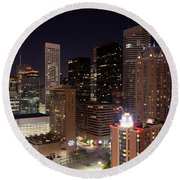 Central Houston At Night Round Beach Towel