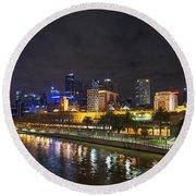 Central Melbourne Skyline At Night Australia Round Beach Towel