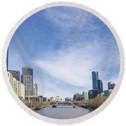 Central Melbourne Skyline By Day Australia Round Beach Towel