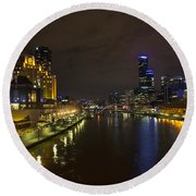 Central Melbourne Skyline In Australia Round Beach Towel