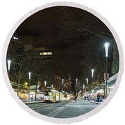Central Melbourne Street At Night In Australia Round Beach Towel