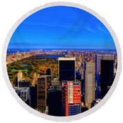 Central Park And New York City In Autumn Round Beach Towel