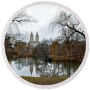 Central Park And San Remo Building In The Background Round Beach Towel