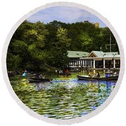 Central Park Boathouse Round Beach Towel