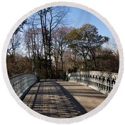 Central Park Bridge Shadows Round Beach Towel