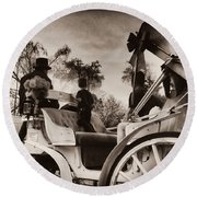 Central Park Carriage Ride - Antique Appeal Round Beach Towel