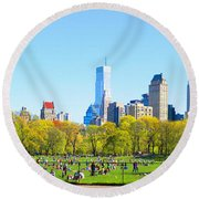 Central Park Panoramic View Round Beach Towel