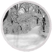 Central Park Dressed Up In White Round Beach Towel