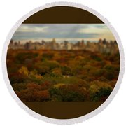 Central Park In Autumn Round Beach Towel