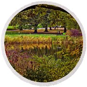 Central Park In Autumn - Nyc Round Beach Towel