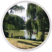 Central Park In The Summer Round Beach Towel