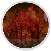 Central Park Ny - Featured Artwork Round Beach Towel
