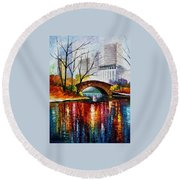 Central Park - Palette Knife Oil Painting On Canvas By Leonid Afremov Round Beach Towel
