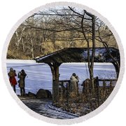 Central Park Photo Op 2 - Nyc Round Beach Towel by Madeline Ellis